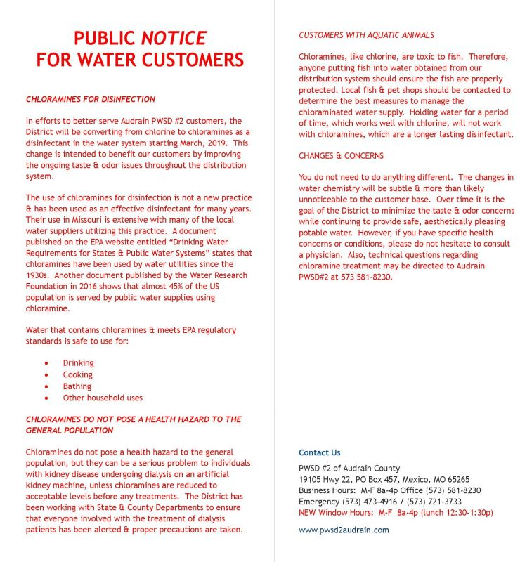 Recent News | PWSD #2 of Audrain County